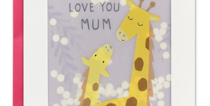 Mothers day card with mother and baby giraffe on lilac background with white shakies