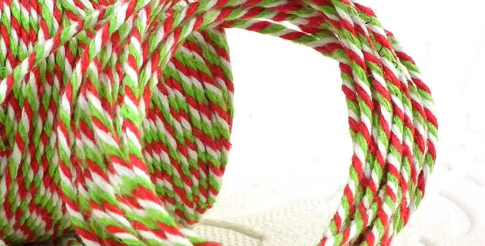Christmas Mix Red, Green and White 12ply Cotton Bakers Twine 10m