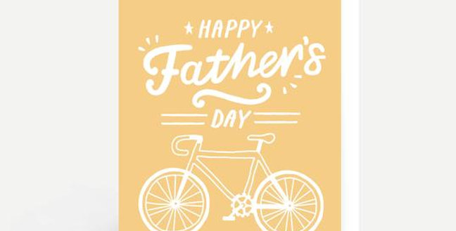 Father's Day card with yellow background and white bicycle and white wording Happy Father's Day