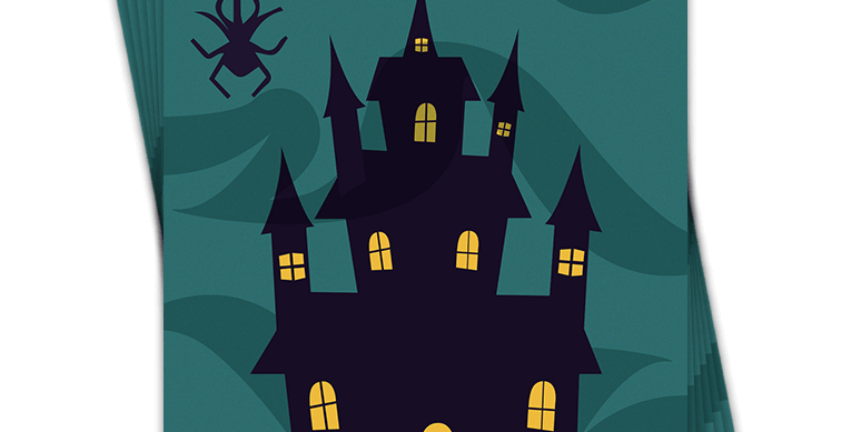 halloween party invite dark green background with spooky house and wording dare you come to our party