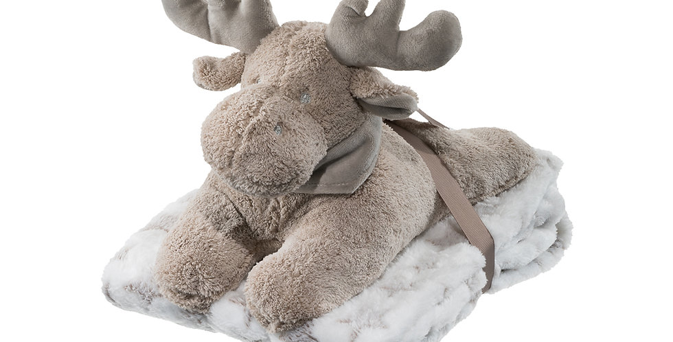 Plush reindeer toy and blanket set suitable for a newborn gift
