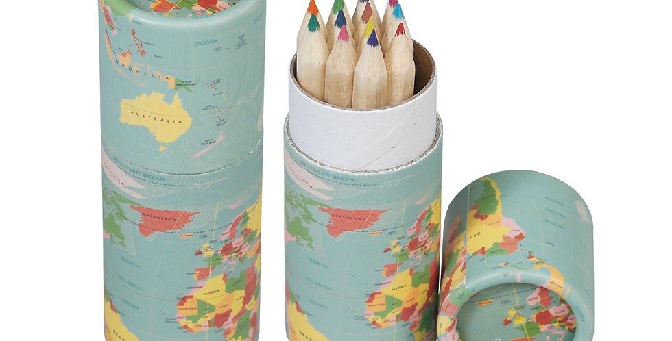 12 coloured mini pencils in a world map decorated tube