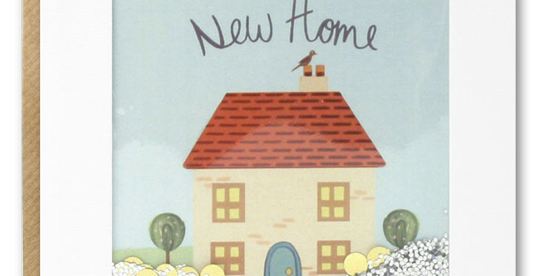 New home shakie card with cute home and off white round confetti