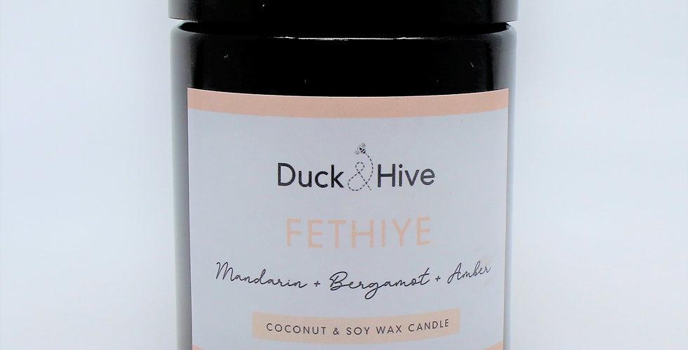 Fetiye soy wax scented candle with bergamot, amber and woody sandalwood