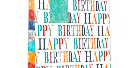 Gift bag with aqua, orange, red, blue and grey text and blocks. Repeat text pattern that says Happy Birthday.