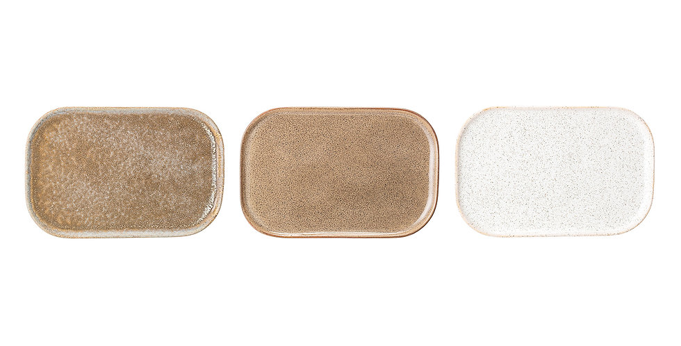 Stoneware oblong plates in natural, cream and beige colourways