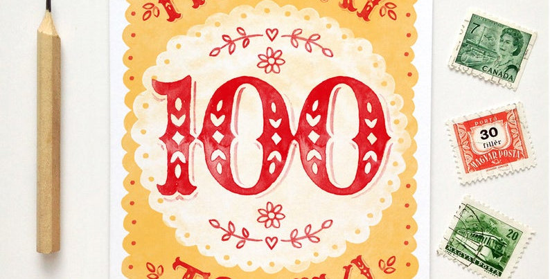 Hurray 100 Today Birthday Card