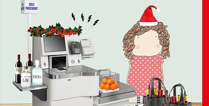 Funny Birthday Card featuring a supermarket checkout saying unexpected item in baggage area - fruit with a load of wine