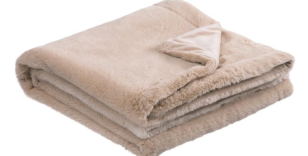 Beige faux rabbit fur blanket. A velvet soft blanket.