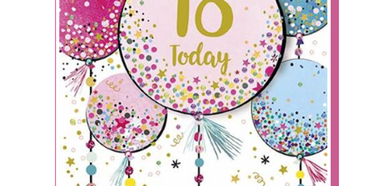 18th birthday card featuring pink and blue balloons saying 18 today in gold writing