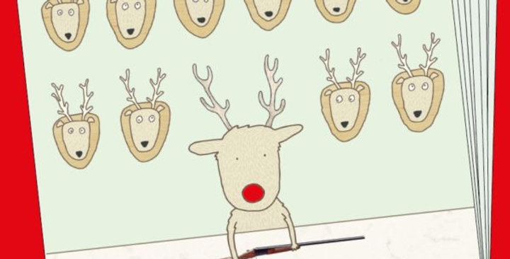 Box of christmas cards, Rudolph with a shotgun and rest of reindeer up on wall