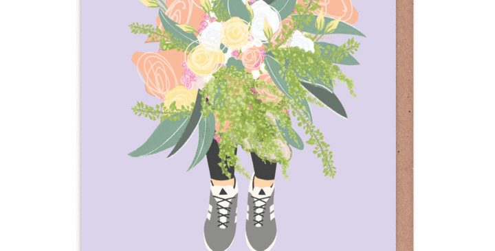 sorry card lilac background with illustrated picture of person holding big bunch of flowers