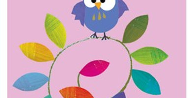 Pink gift tag with cute owl sat on twig with multicoloured leaves