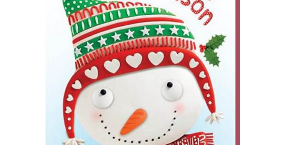 Cute cartoon snowman with robin and words To a special Great Grandson