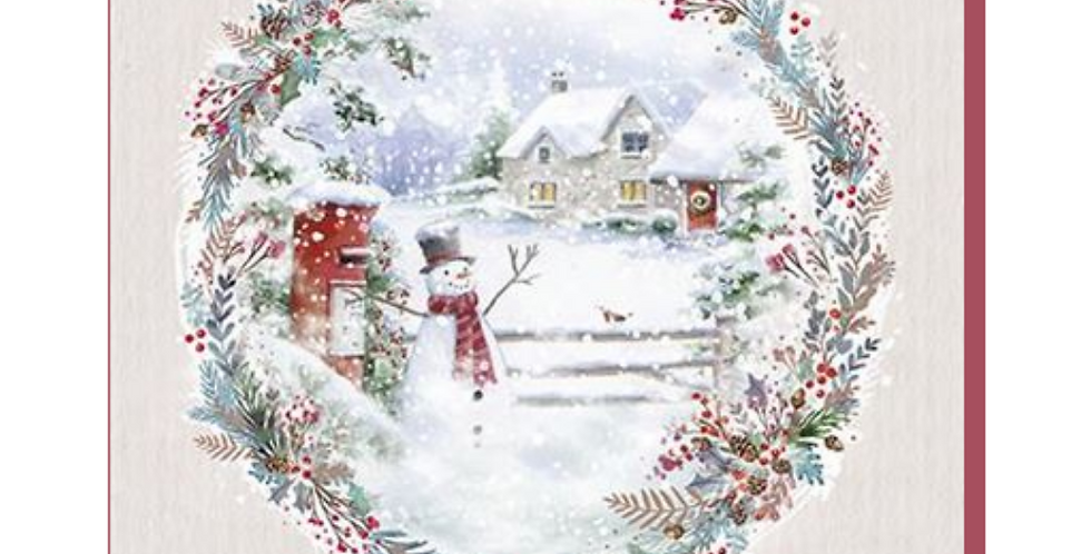 Snowy christmas village scene with cottages, post box and snowman with words to a wonderful great grandad at christmas time