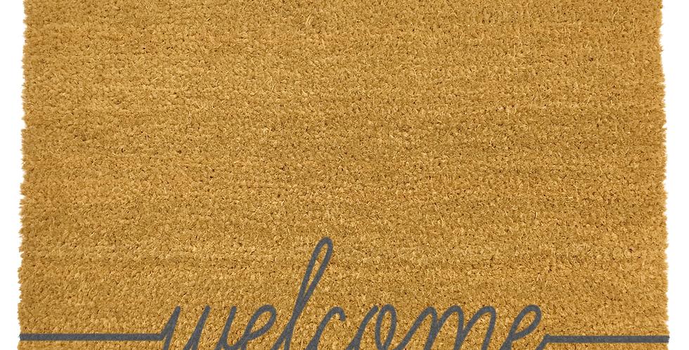 coir doormat with grey wording welcome at bottom edge