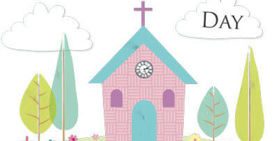 Confirmation card featuring cute church illustration and wording On Your Confirmation