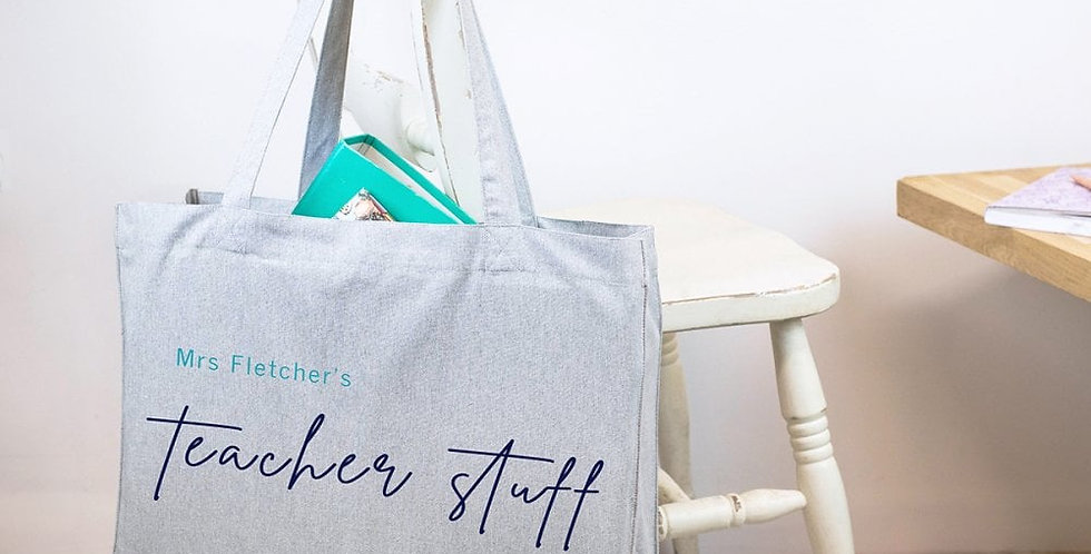 personalised recycled teacher tote bag