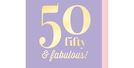 50th birthday card, lilac background with gold writing that says fifty and fabulous