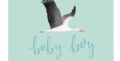 pale aqua new baby card with cute stork flying and blue wording baby boy