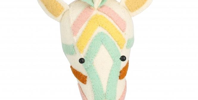 Natural Pastel Mini Cream Zebra Head