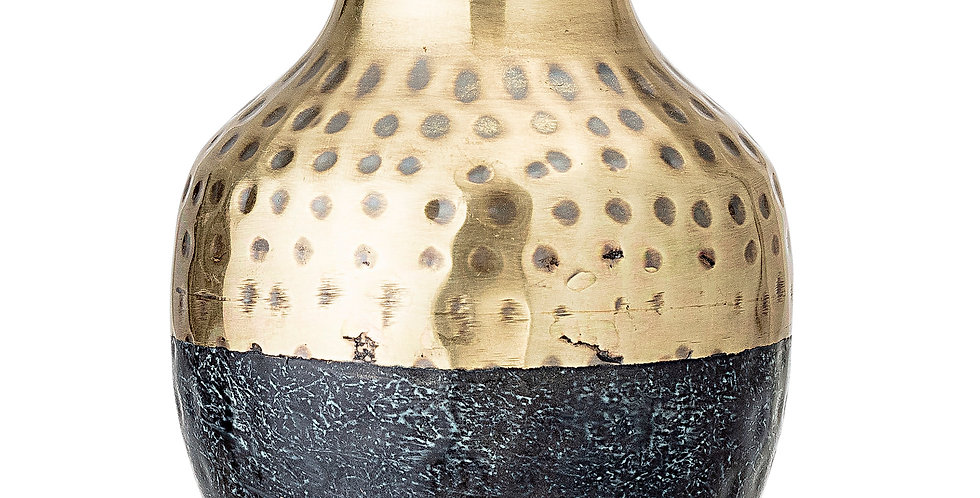 Multi-Colour Metal Vase features black and hammered gold metal height 13cm