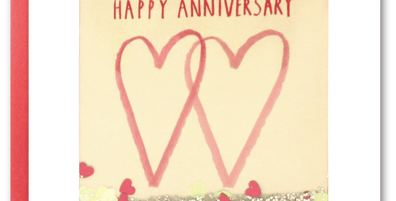 Happy Anniversary shakies card featuring two hearts and confetti