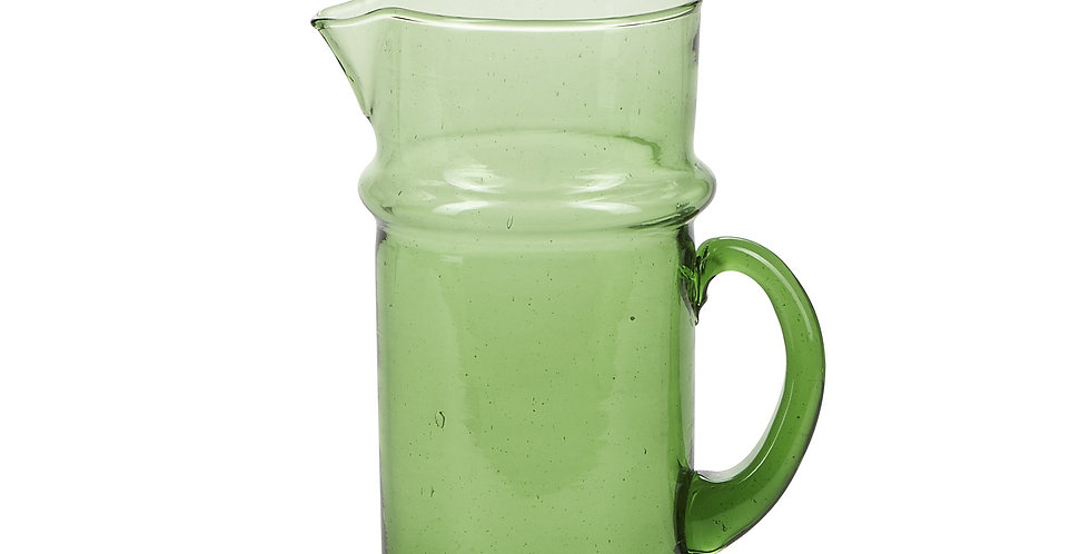 Green Handmade Moroccan Recycled Glass Pitcher with handle