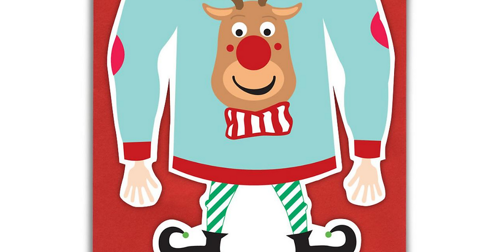Christmas Selfie Card with elf in Christmas jumper and boots to front - headless so you can take a selfie