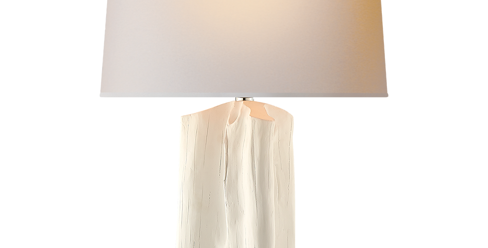 elegant wood effect base enhanced by a white metallic finish and topped with a natural paper shade.