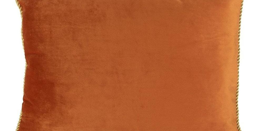 Orange /gold velvet half cushion