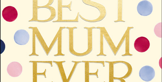 cream mothers day card with gold best mum ever words and dark blue, rapsberry pale pink and blue dots