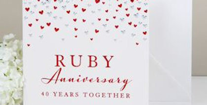 Ruby Anniversary card for a couple
