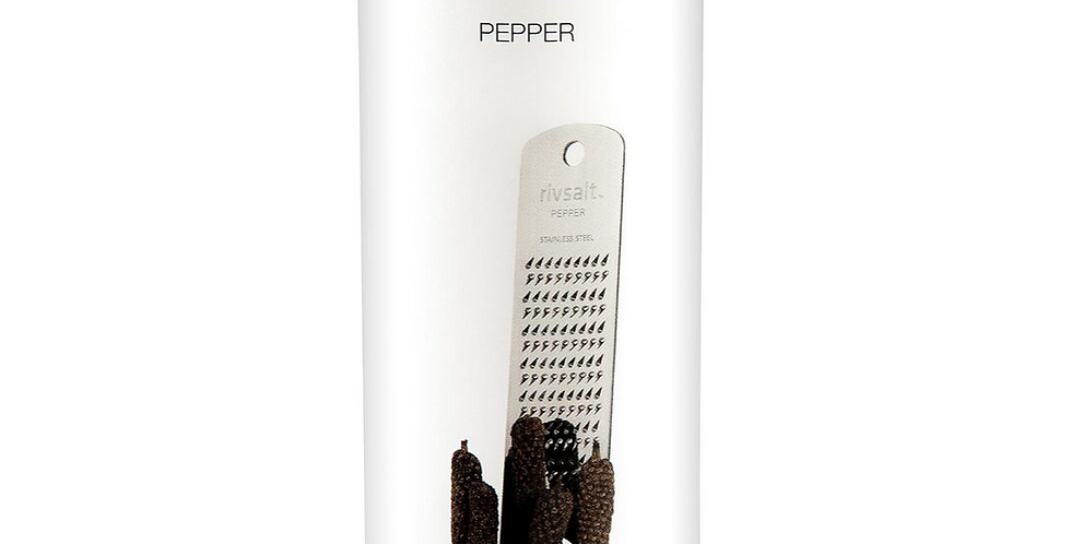 Rivsalt pepper grater with strands of peppercorns and gilver grater on wooden stand