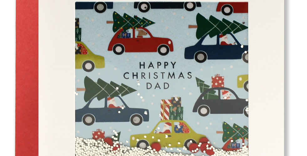Dad Christmas card featuring different cartoon cars with christmas trees on their roofs with words Happy christmas dad
