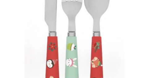 toddlers cutlery set with christmas design