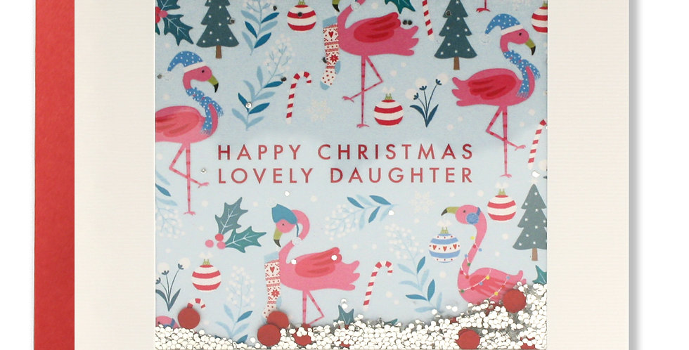 Daughter christmas card with pink flamingoes and shakie confetti with words Happy Christmas lovely daughter