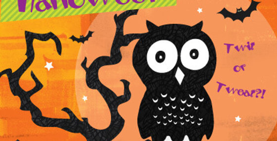 Halloween card with orange background, black owl on branch words happy halloween twit or tweat