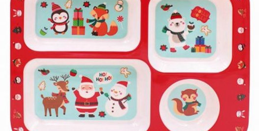Child's sectioned food tray with christmas designs