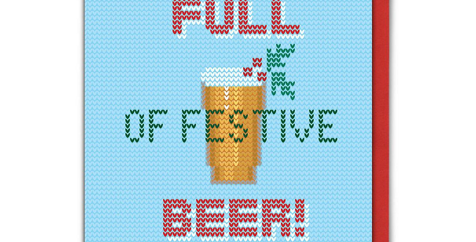 Light blue edged with red knitted style Christmas card with a pint and wording Full of Festive Beer