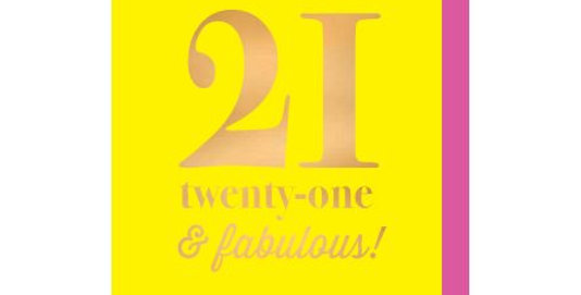 21st birthday card, yellow card with gold writing saying twenty one and fabulous