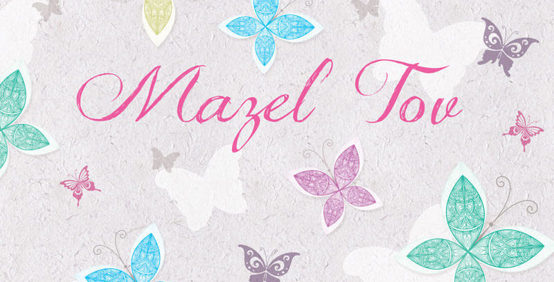 pale pink jewish card featuring butterflies in pastel colours and words mazel tov