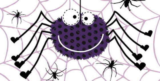 Halloween card with cartoon spider and web with green and orange happy halloween words
