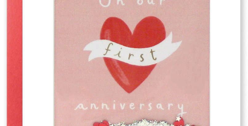 1st Anniversary Card for husband or wife featuring confetti and red tattoo style heart