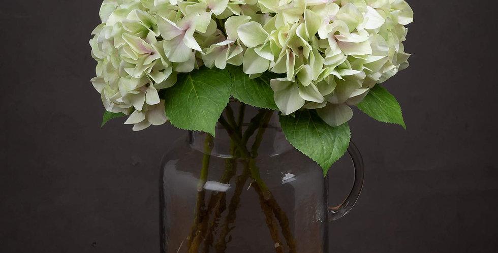 faux green hydrangea single stem