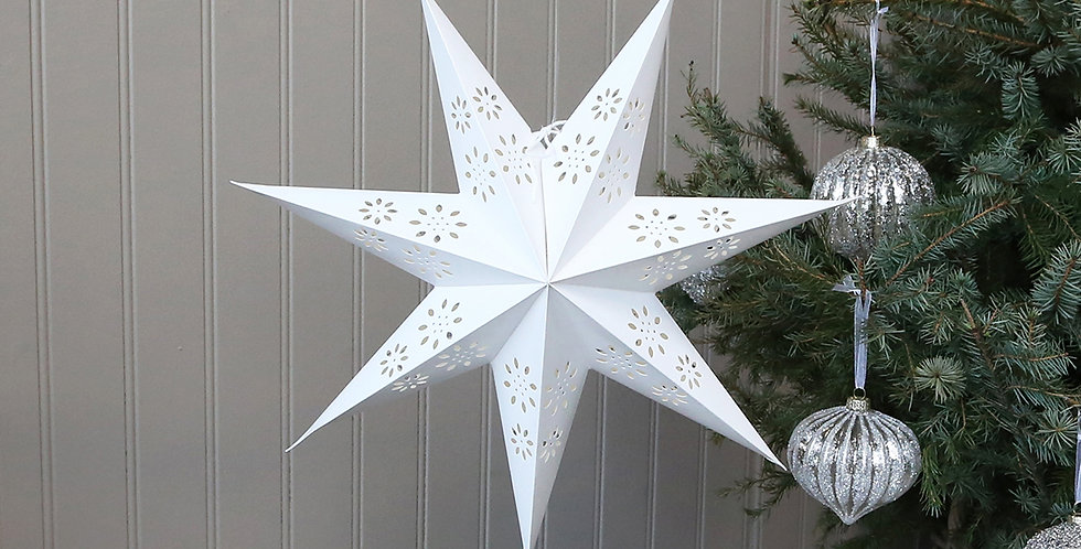 Handcrafted hanging star Christmas paper decoration with punched out flower design