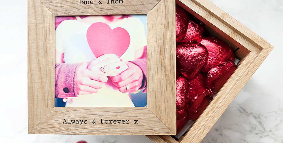 Top View Of Personalised Photo Box With Unique Engraving, Containing 30 Belgian Chocolate Heart