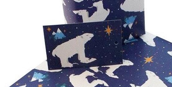 Christmas Gift Tag with dark blue starry sky and white polar bear. Matches Christmas Polar Bear gift wrap