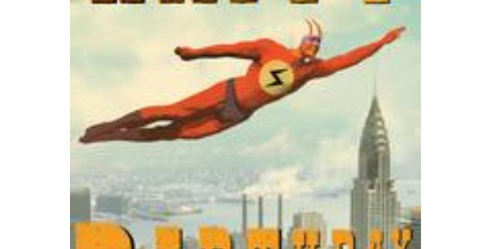 Retro style birthday card featuring superhero and cartoon writing saying Happy Birthday