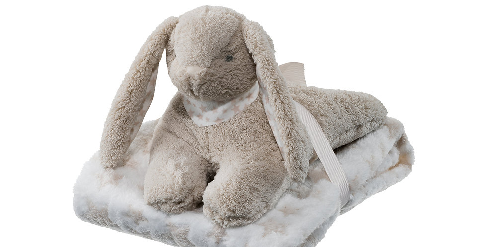 Supersoft bunny plush toy and blanket gift set of newborns and toddlers